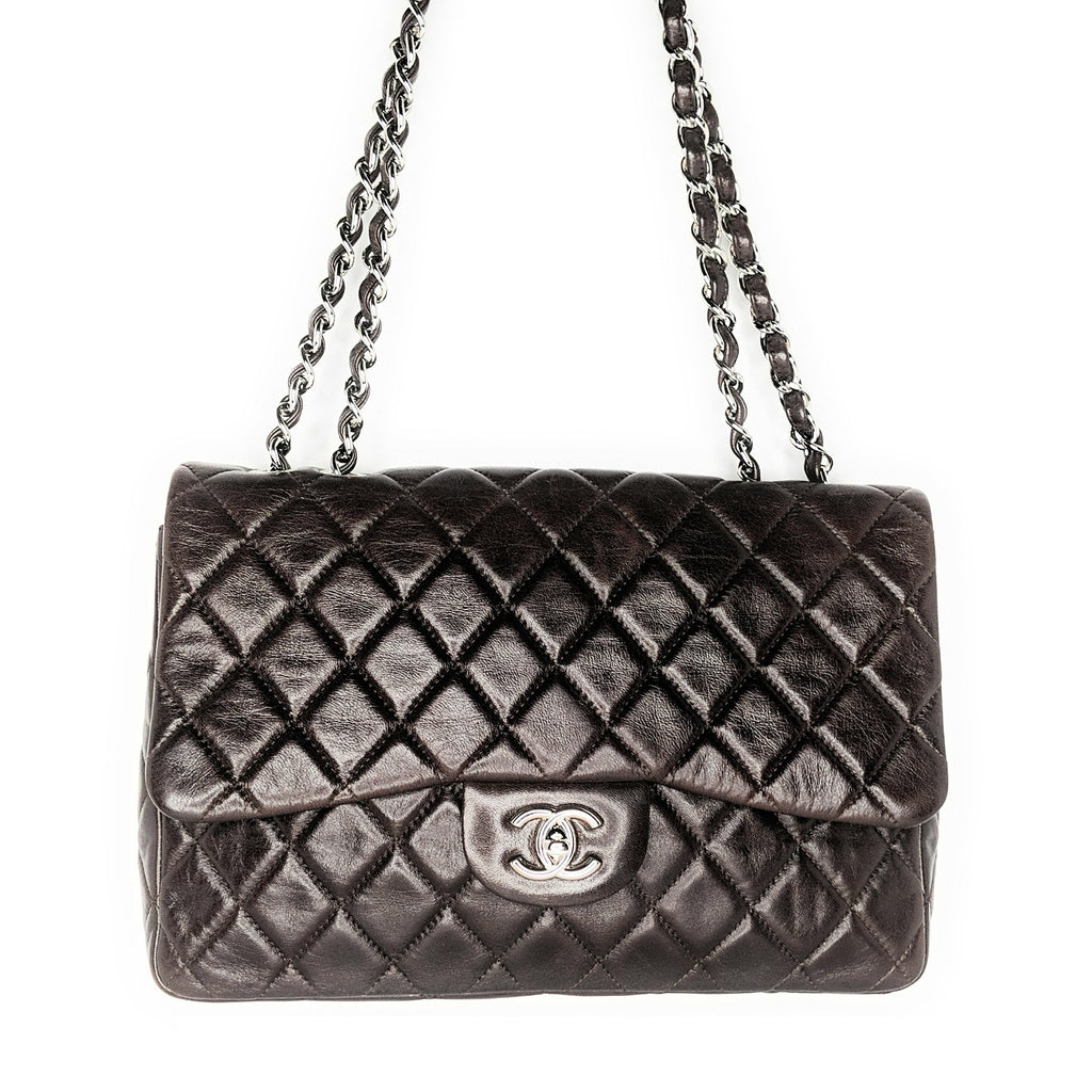 Chanel Classic Quilted Calfskin Single Cocoa Jumbo Flap