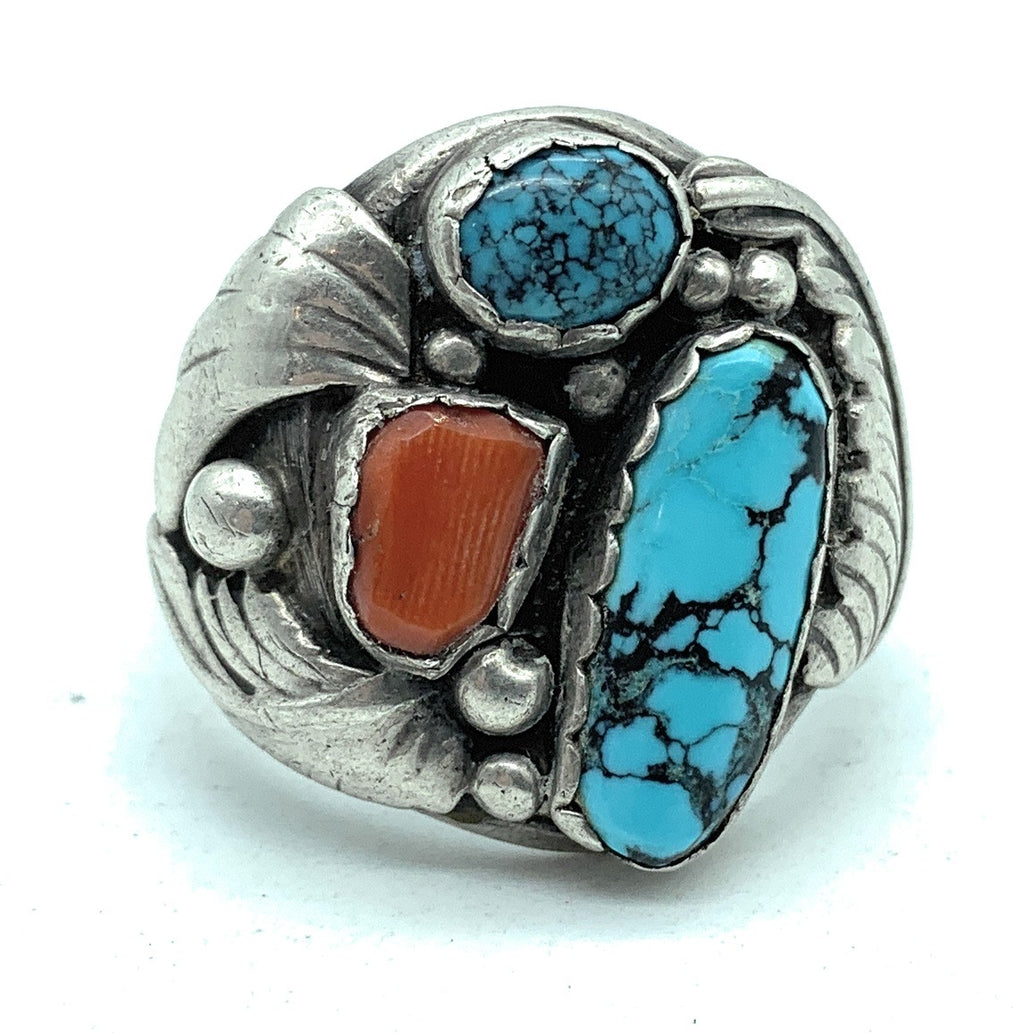 Vintage 1950's Navajo Men's Sterling Silver Coral & Turquoise Ring