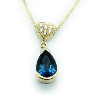 14K Yellow Gold, London Blue Topaz & Diamond Pendant Necklace