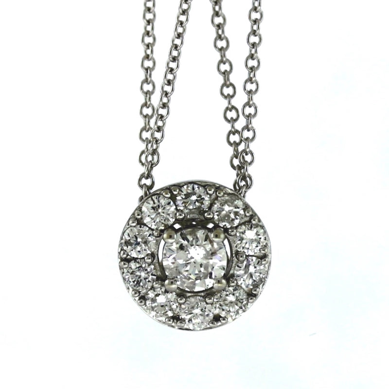 18K White Gold 0.50ctw Diamond Halo Pendant Necklace