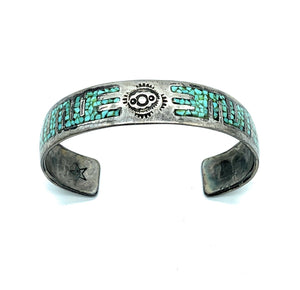 Vintage Old Pawn Sterling Silver Micro Inlay Turquoise Cuff Bracelet