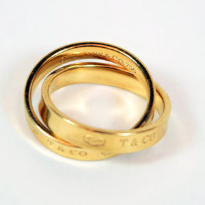 Tiffany & Co 18 Karat Yellow Gold Double Band Ring, Size 4.75