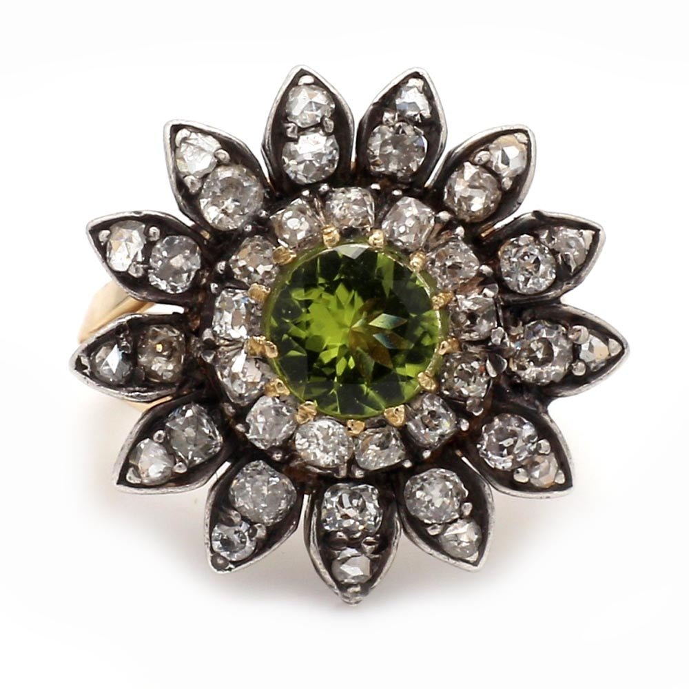 14K 2-Tone Gold & Sterling Silver Peridot & Diamond Cluster Ring - Sz. 6.25