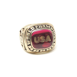 Men Ring, 1993 UAS Wrestling World Team Member Kerr Toronto, Jostens, 10K Yellow Gold , Size 12.5