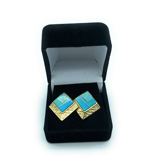 Calvin Begay Old Pawn 14K Yellow Gold & Turquoise Inlay Earrings