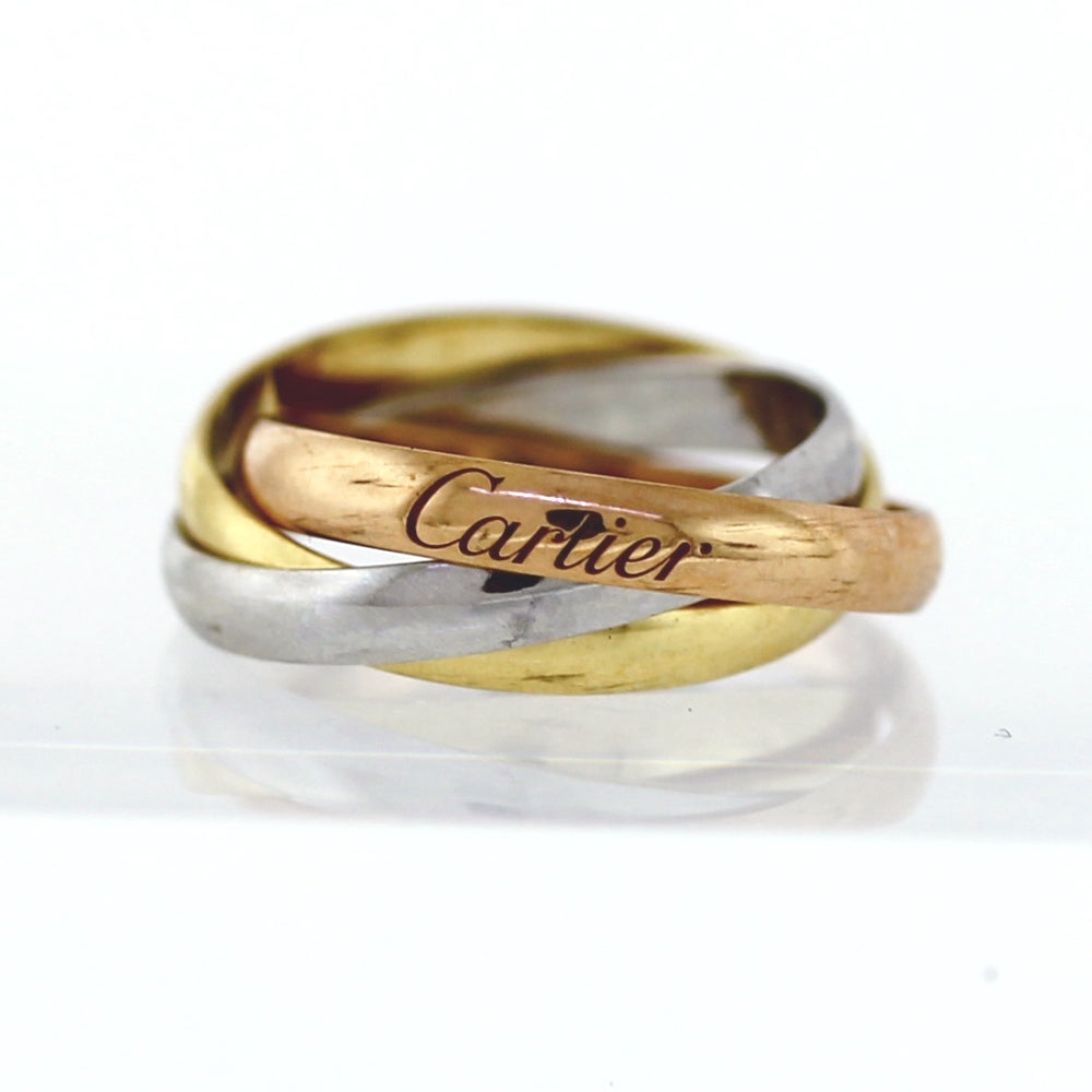 AUTHENTIC! Cartier Vintage 18K Tricolor Trinity Rolling Ring- Sz. 49