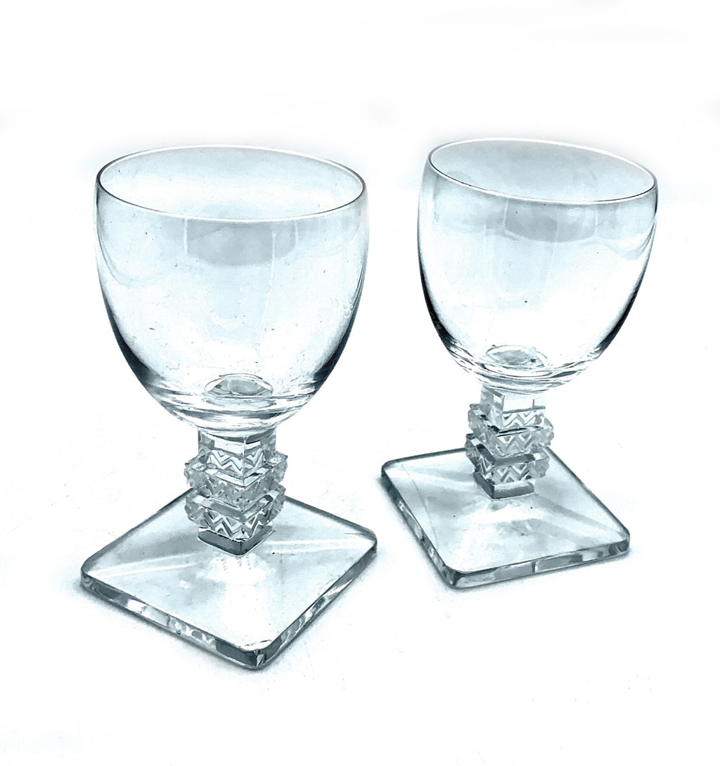 Lalique France Crystal Cordial Glasses 'Argos' Pattern x 2