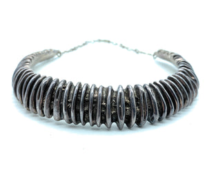 Vintage Navajo 1980's Sterling Silver Melon Rib Collar Necklace