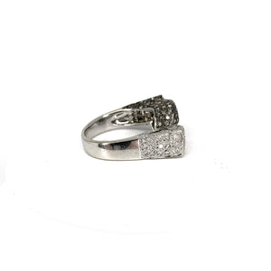 18K White Gold Ring w/ Brown & White Diamonds - 1.00ctw - Sz. 8