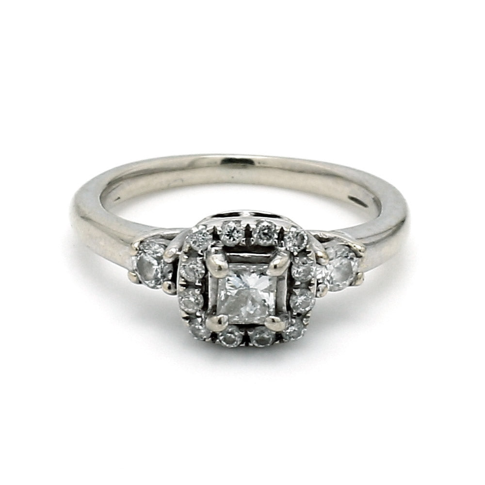 14K White Gold 0.37ctw Diamond Halo Engagement Ring - Sz. 3
