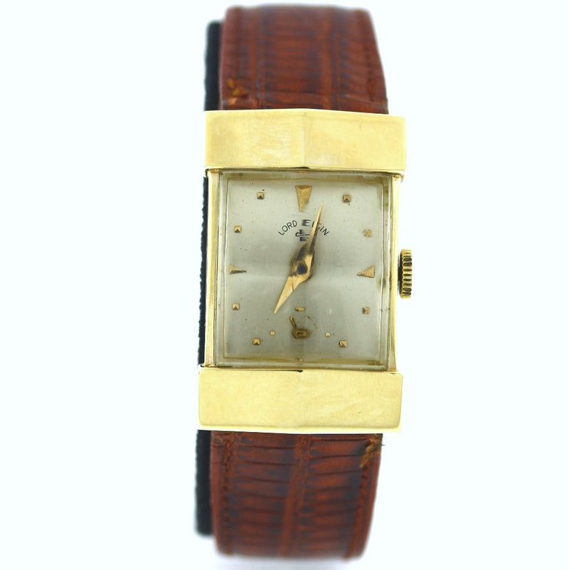 Vintage Lord Elgin Curved Faceted Crystal 14kt Yellow Gold Watch