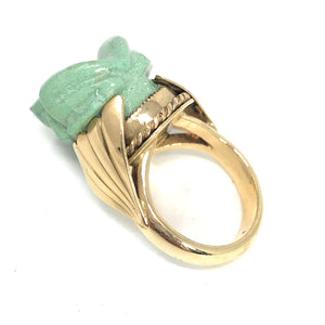 14K Yellow Gold Turquoise Carved Frog Ring, Size 6.75