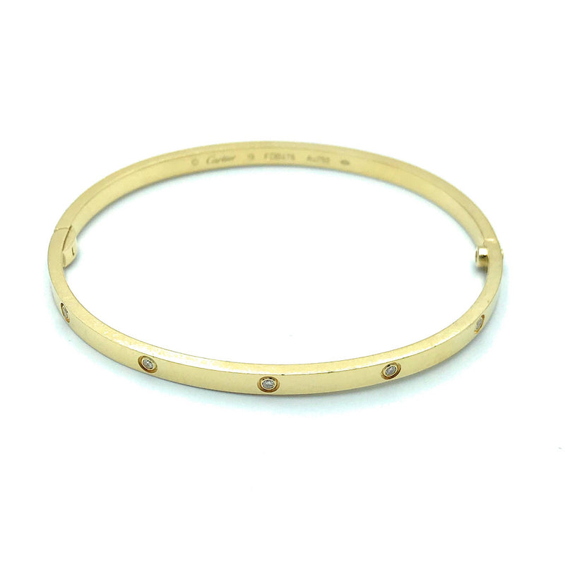 Authentic Cartier 18k Yellow Gold & Diamond Love Bracelet, Sz. 7