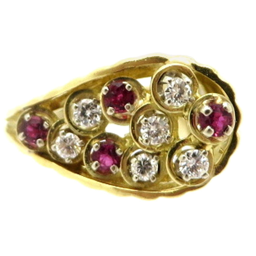 18 Karat Gold Teardrop Round Diamond and Ruby Fashion Cocktail Ring, Size 7