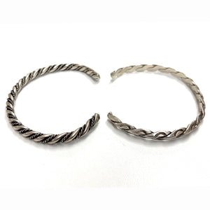 Vintage Native American Sterling Silver Wire Bangle 2 Bracelet Set