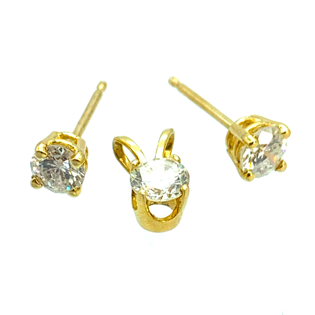 14K Yellow Gold .50ctw Diamond Solitaire Stud Earrings & Pendant