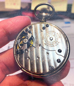 Antique Robert H. Ingersoll Midget Open Faced Pocket Watch w/ Portraits