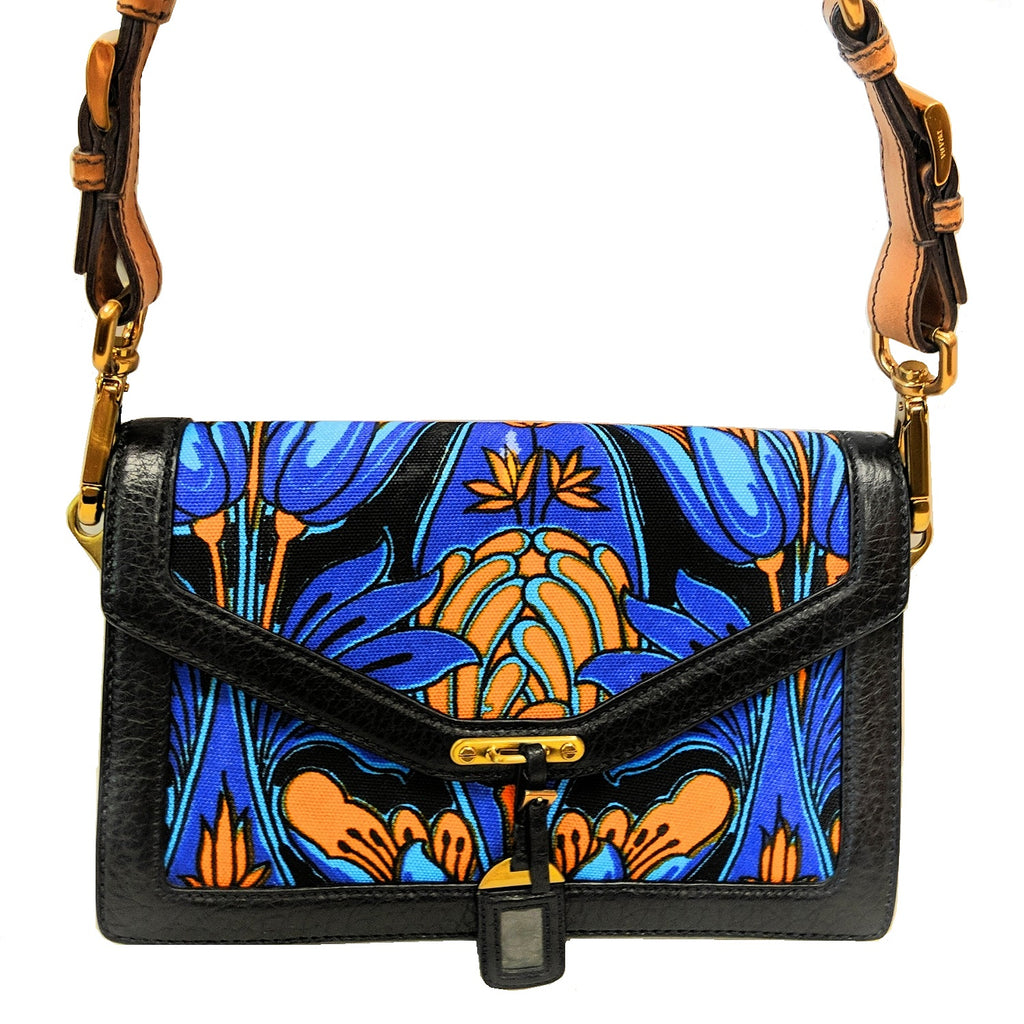 Prada Multi-color Cloth Tropical Motif Print Shoulder Clutch Bag