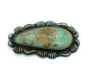 Vintage 1960's Old Pawn Sterling Silver Manassa Turquoise Brooch Pendant
