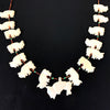 Vintage Zuni Hand Carved Fossil Buffalo & Sterling Silver Fetish Necklace