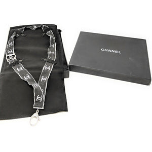 Chanel Crystal CC Lanyard Necklace Black Silver