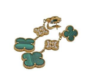 Van Cleef & Arpels 18k Gold Diamond & Malachite Magic Alhambra Earrings