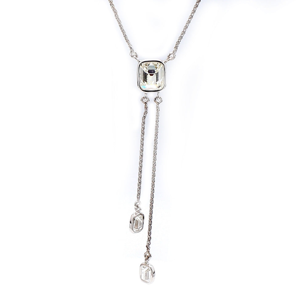18K White Gold & 0.81ctw Diamond Tassel Style Necklace