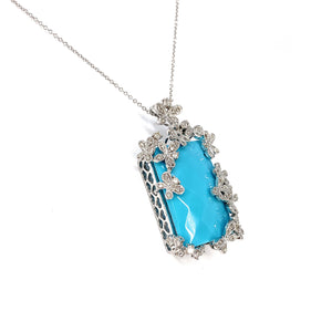 14K White Gold Diamond and Synthetic Turquoise Etruscan Style Pendant Necklace