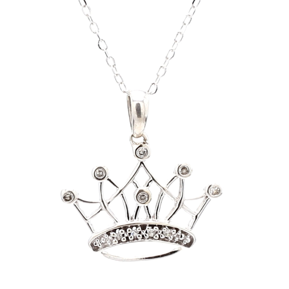 14K White Gold & 0.07ctw Diamond Crown Pendant and Necklace