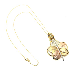 14K Yellow / Rose / White Gold 585 Leaf Pendant Necklace