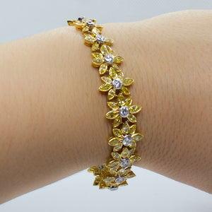 18K Two-Tone Gold 10.50ctw Yellow & White diamond Bracelet