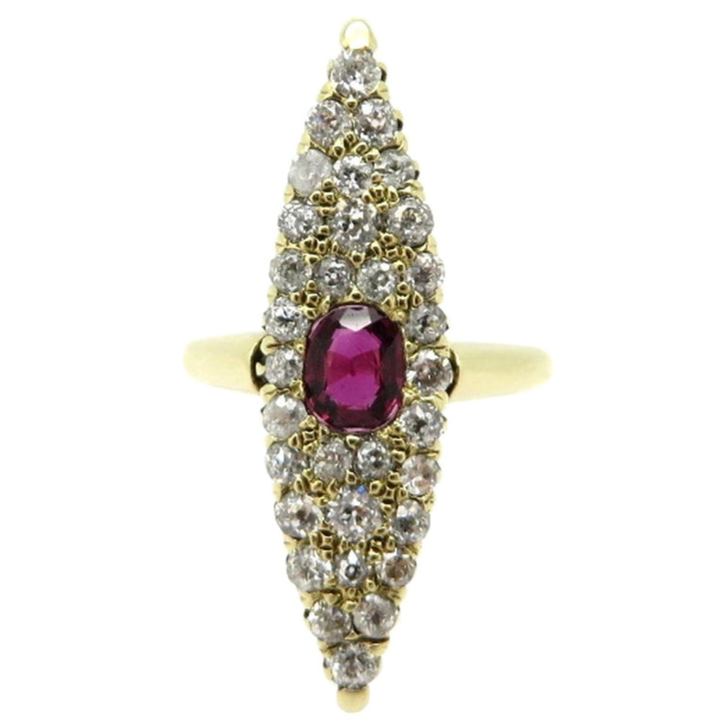 14 Karat Gold Victorian Style Navette Shaped Ruby and OEC Diamond Ring, Size 5.75