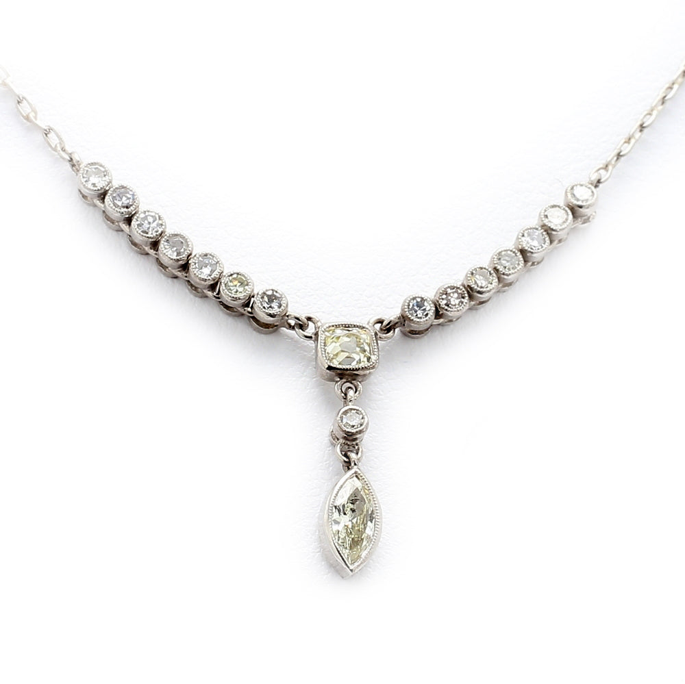 Platinum & 0.76ctw Diamond Lariat Style Necklace