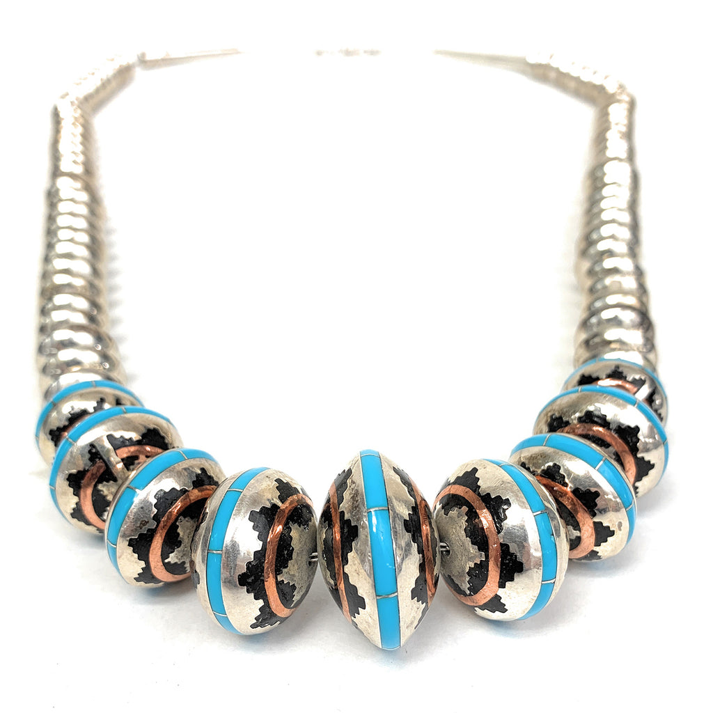 Native American Sterling Silver Bench Bead Turquoise Copper Enamel Inlay Necklace