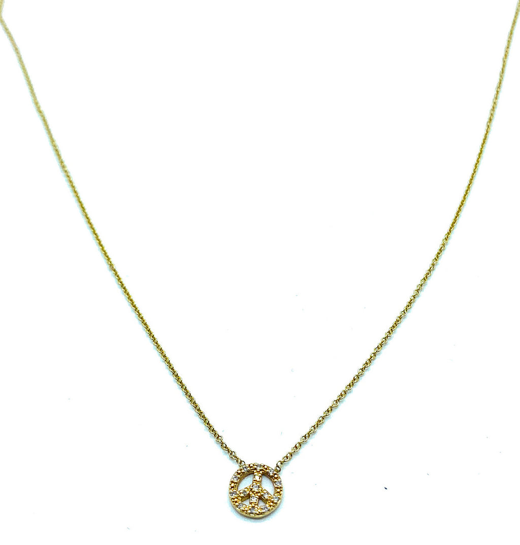 Vintage 14K Yellow Gold & Diamond Peace Sign Pendant Necklace