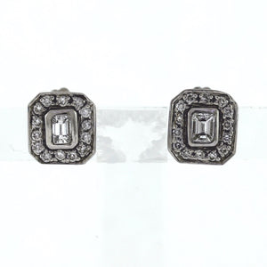 18K White Gold 1.30ctw Diamond Square Halo Post Earrings