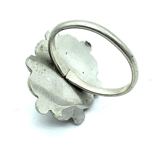 Vintage 1970's Navajo Sterling Silver Opal Ring - Sz. 7
