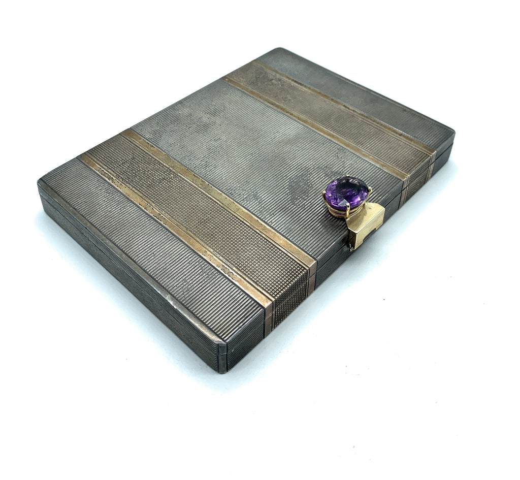 Antique 1920's Art Deco Sterling Silver, 14K Gold, & Amethyst Vanity Case
