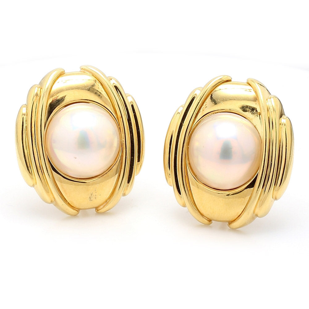 18K Yellow Gold & Mabe Pearl Earrings