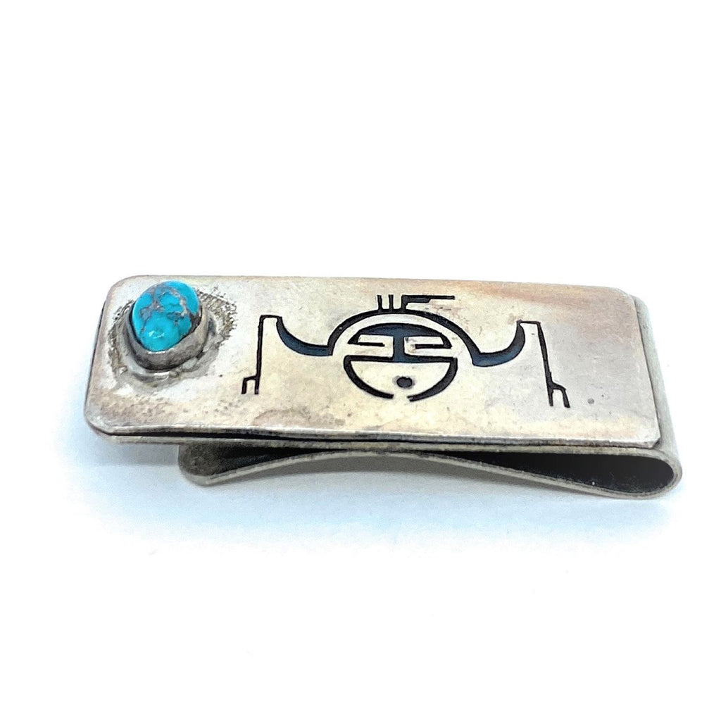 Native American Sterling Silver Turquoise Thunderbird Men Money Clip