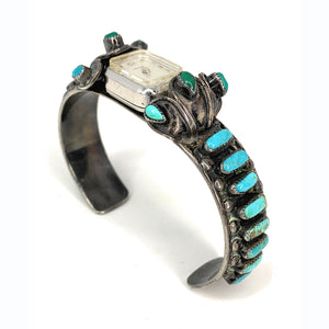 Vintage Native American Kingman Turquoise Cabochon Cuff Watch Bracelet