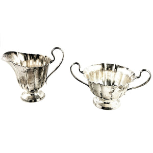 Cartier Vintage Scalloped Creamer and Sugar Bowl Set Sterling Silver