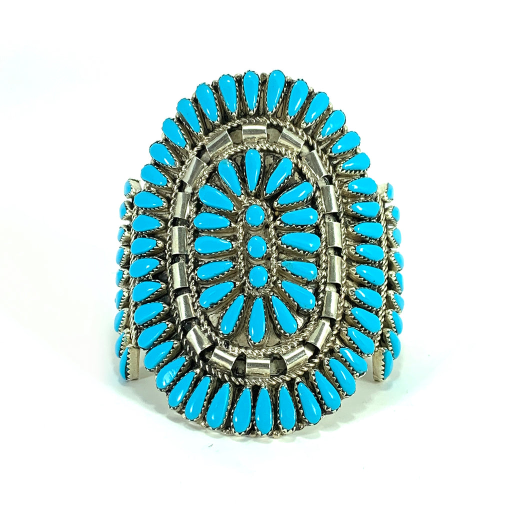 Navajo Sterling Silver and Turquoise Petit Point Cuff Bracelet