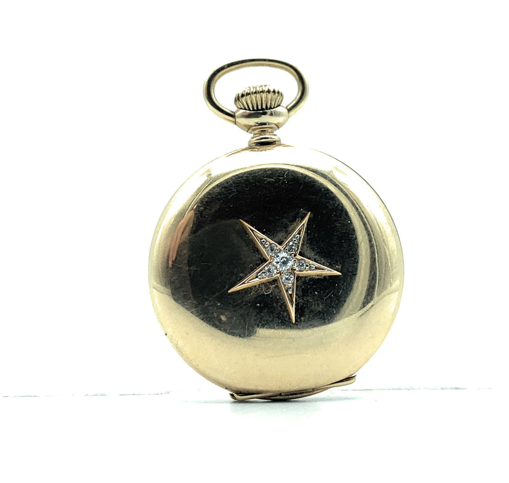 Antique Hampden 14K Yellow Gold & Diamond Ladies Pocket Watch - Dueber Case
