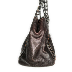 Chanel Dark Brown Caviar Leather Modern Chain East/West Tote
