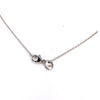14K White Gold Diamond Peace Sign Bezel Necklace