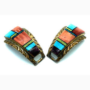 Vintage Zuni Gold on Sterling Silver Multi-Stone Inlay Watch Tips