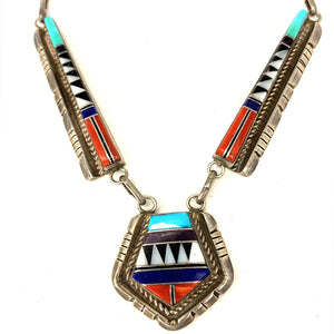 Vintage Zuni Sterling Silver Multi Stone Mosaic Inlay Necklace