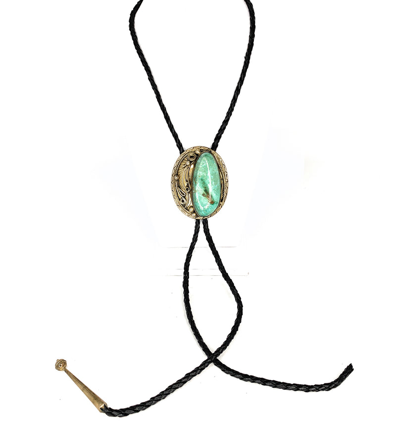 Vintage Navajo Sterling Silver Easter Blue Turquoise Bolo Tie