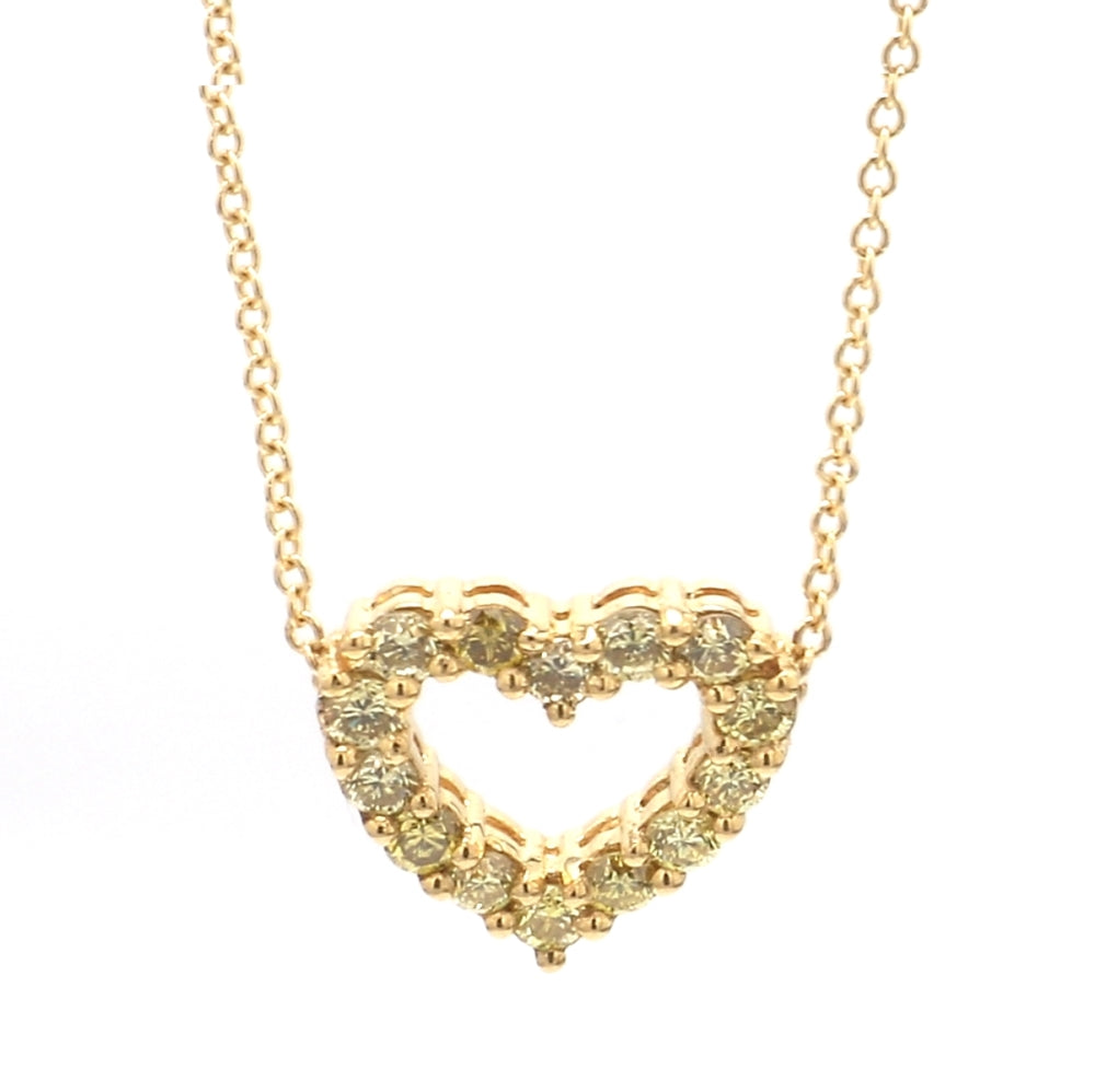 18K 2-tone Gold Yellow Diamond Open Heart Pendant Necklace